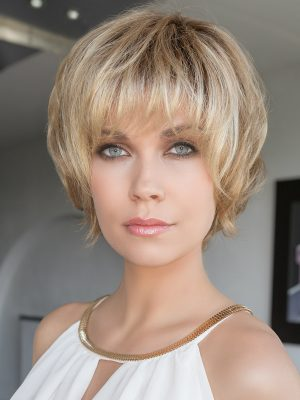 BLOOM by Ellen Wille in Sand Rooted | Light Brown, Medium Honey Blonde, and Light Golden Blonde blend with Dark Brown Roots | Hair Society Luxury Wig Collection by Ellen Wille | Elly-K.com.au