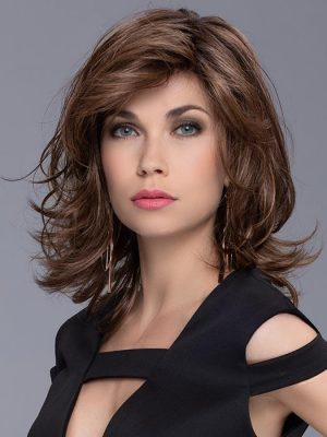 ALIVE by ELLEN WILLE in CHOCOLATE ROOTED   Medium to Dark Brown Base with Light Reddish Brown Highlights and Dark Roots