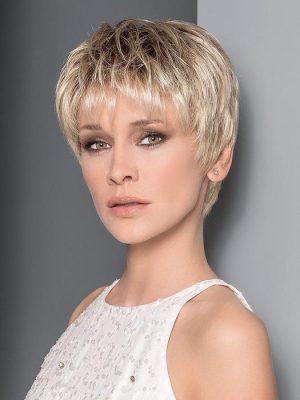 Aura Wig By Ellen Wille | Champagne Rooted | Light Beige Blonde, Medium Honey Blonde, and Platinum Blonde Blend with Dark Roots