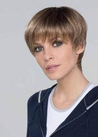 SEVEN SUPER by ELLEN WILLE in TOBACCO ROOTED | Medium Brown base with Light Golden Blonde highlights and Light Auburn lowlights and Dark Roots