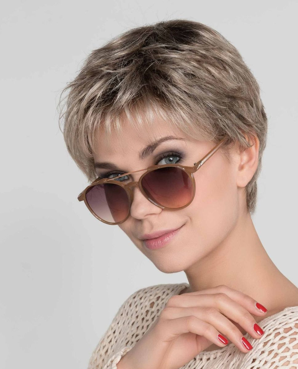 Mia Mono |  Aclassic short Pixie style has a full monofilament top allowing you to part the hair in any direction.