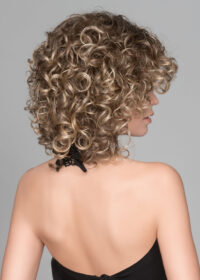Jamila Plus | The ringlet curls fall just above the shoulders in the back and frame the face in the front.