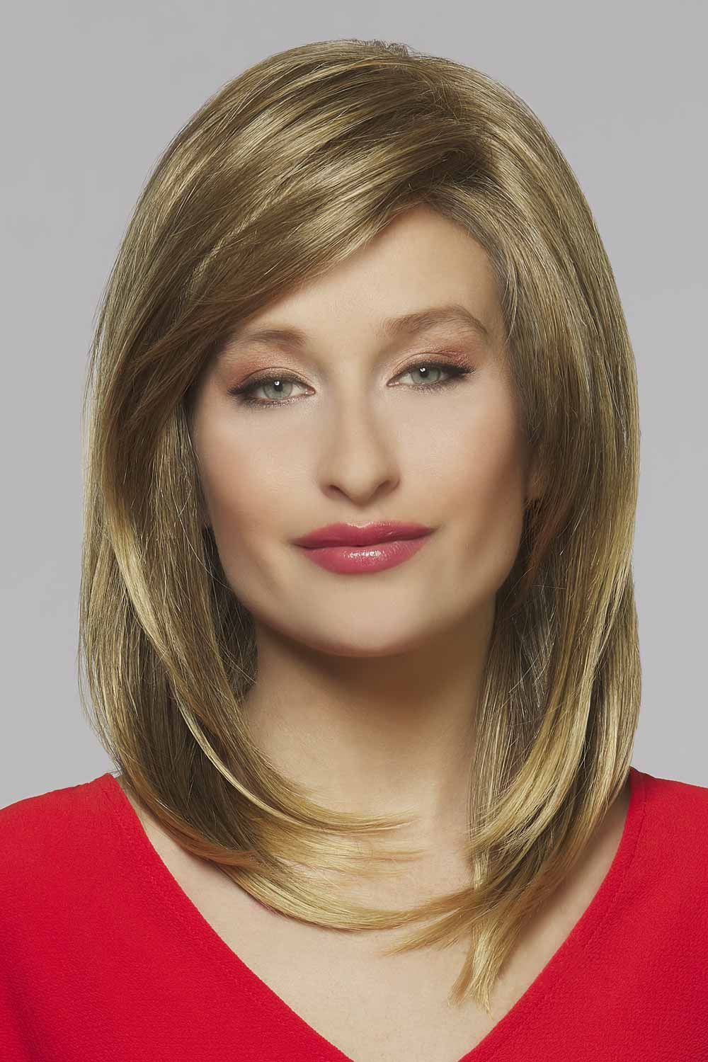 Athena by Henry Margu   Sleek shoulder length fibres with side swept bangs and light layers.