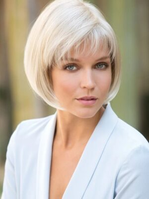 Cory by Noriko in creamy blond | classic bob style sleek and sophisticated.