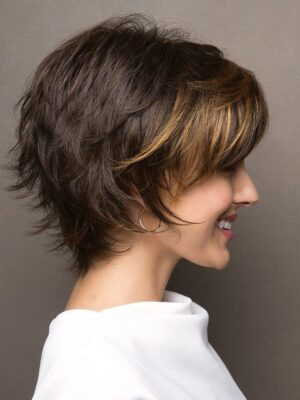 Sky by Noriko | Short face flattering bob with feathered layers and wispy ends
