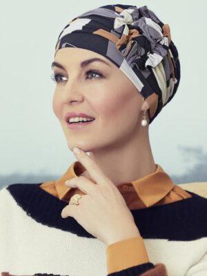 Christine Headwear | LOTUS TURBAN Printed Shapes of Brown 1008-0671